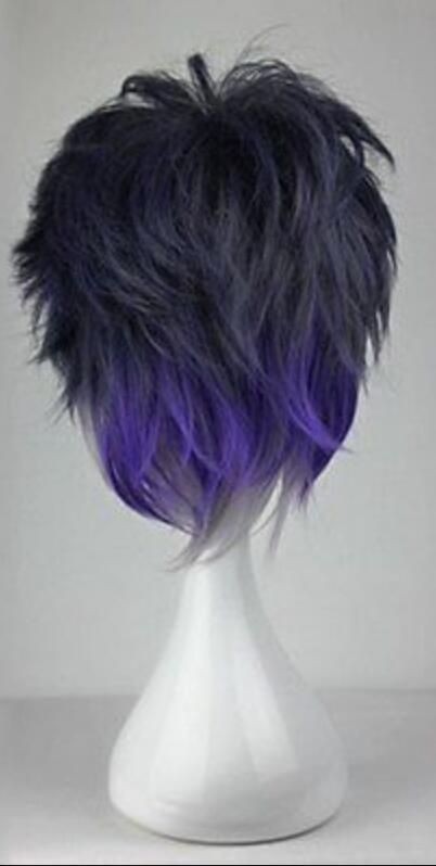 Peluca del traje de Cosplay del partido del animado recto corto de la mezcla gris púrpura de WIG