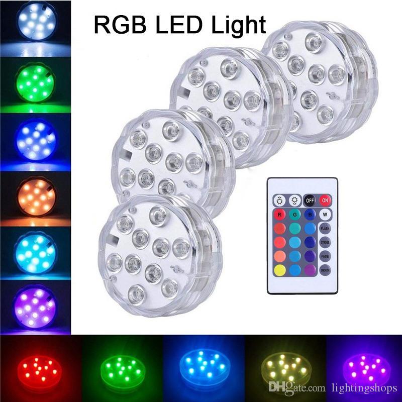 10 LED lampeggiante Cambia colore LED sommergibile Luci decorative Fish Bowl Light Vase Base Lampada floreale per la festa di Halloween