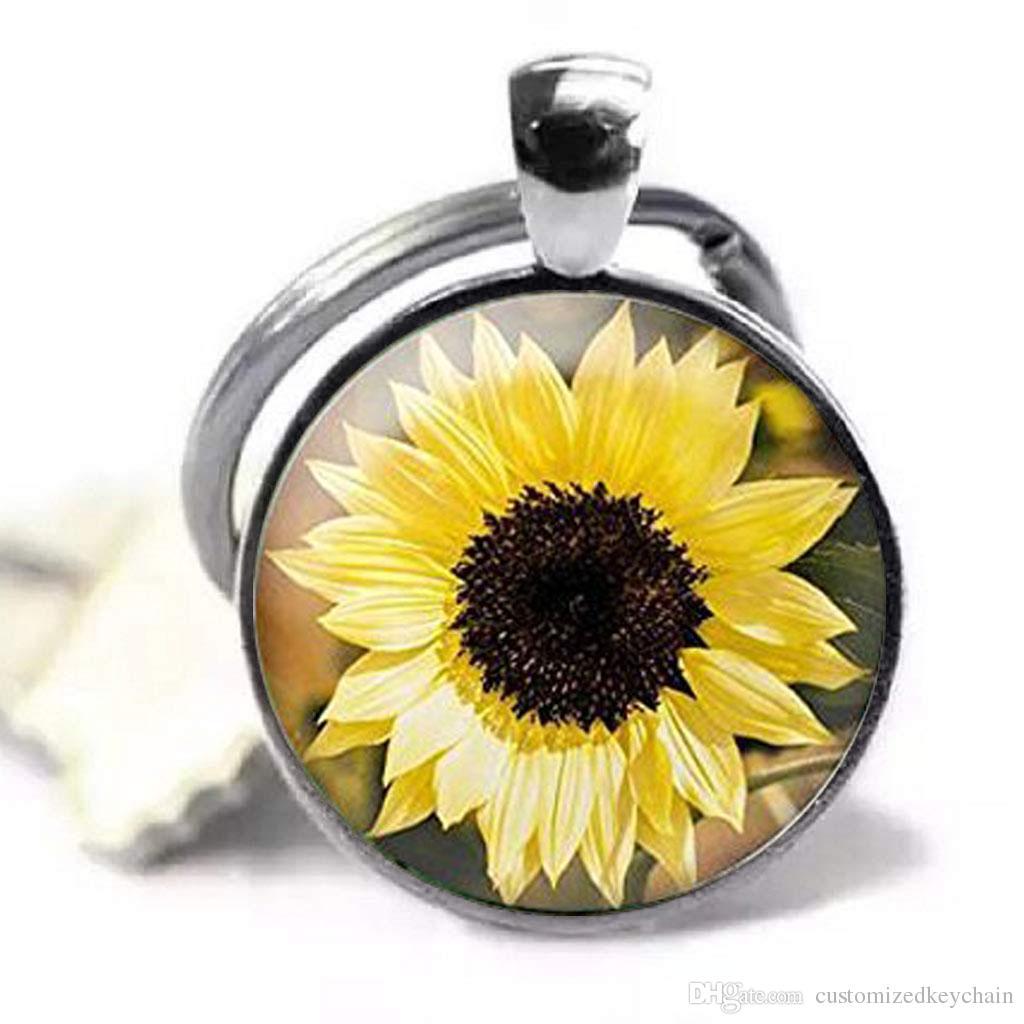 Keychain del fiore del girasole Monili, fiore del giardino dei gioielli del girasole, Keychain della cupola di vetro del pendente dei monili Keychain su misura