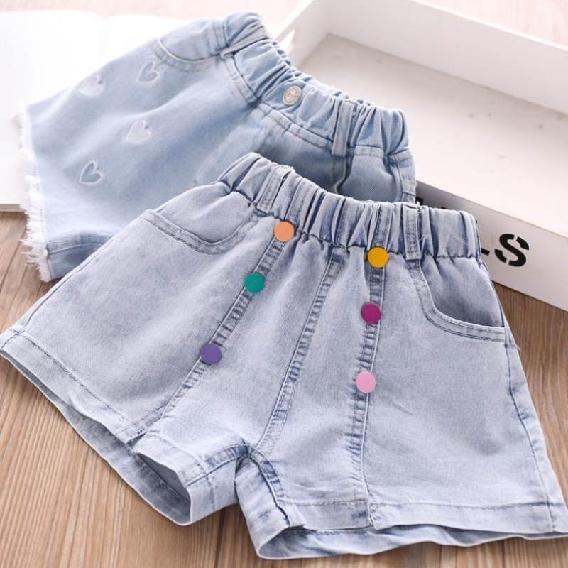 3T-10T Wholesale Children's denim shorts baby girls clothes Button design GIrls casual hot pants kids clothes jeans shorts L228