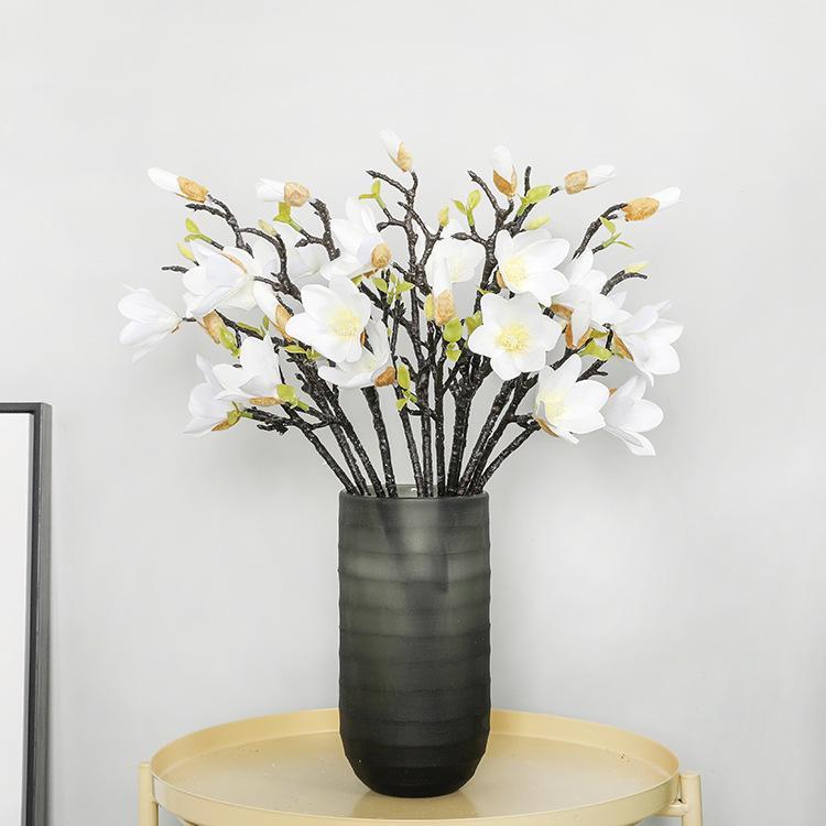 6pcs / lot 53cm simulation magnolia branche orchidée fausses fleurs pour la décoration de la maison décoration de mariage affichage guirlande magnolia fleurs en soie
