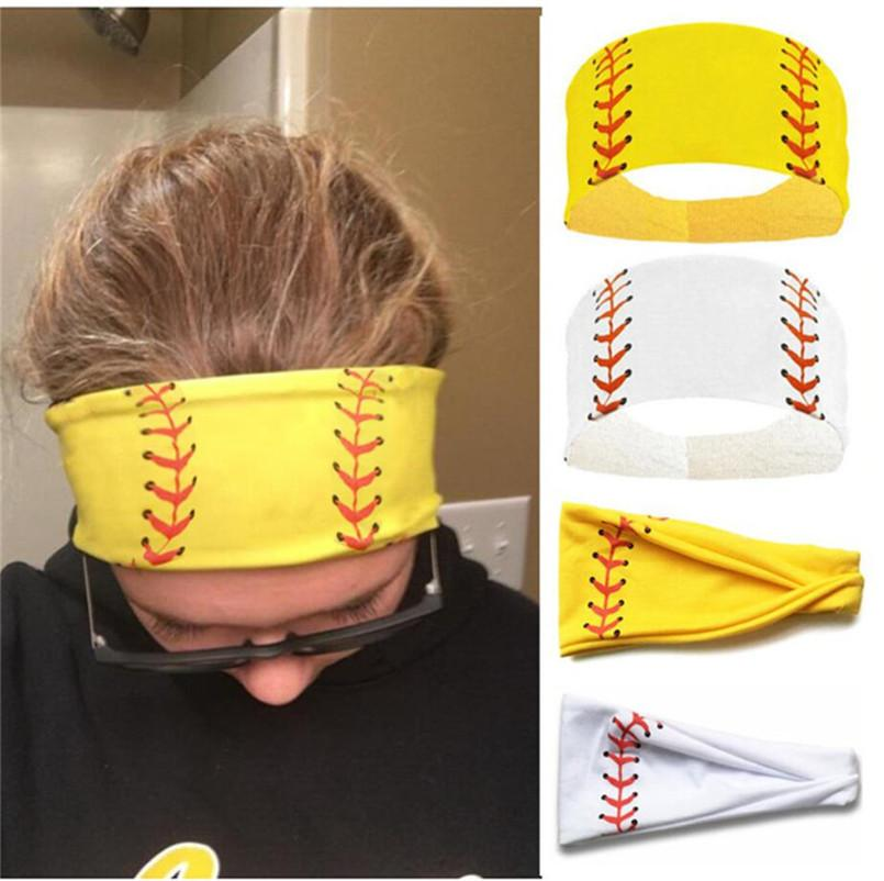 Softball Baseball Football Sports Headbands Girls Gym Yoga Absorb Sweat Hair Band Soccer Ball Headwrap Bandanas Kerchief Women Turban E3405