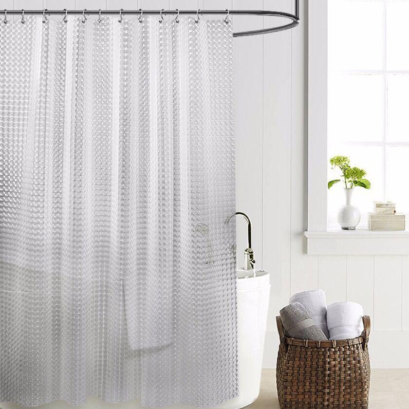 Resistente al moho antibacteriano cortina de ducha con ganchos 12pcs impermeable Liner transparente para el baño PEVA cortina de baño 3D T191219