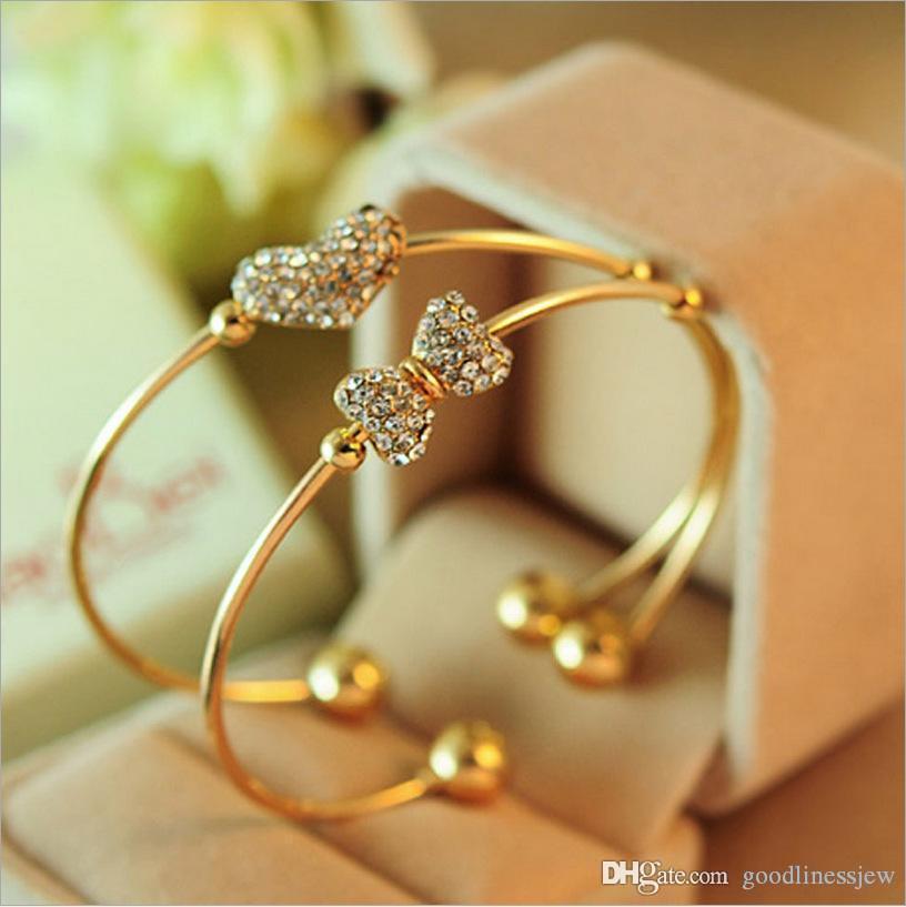 Bracciali per le donne Corea moda gioielli squisiti Splendidamente mogano fiocco di diamanti braccialetto pieno di diamanti Bracciali Charm Bracelet