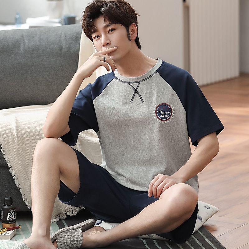 Pajamas Set cotone sottile sonno bicchierini della camicia Vestito degli uomini di estate Grey Stitching Sleepwear Homewear Pigiami casuali insieme a due pezzi