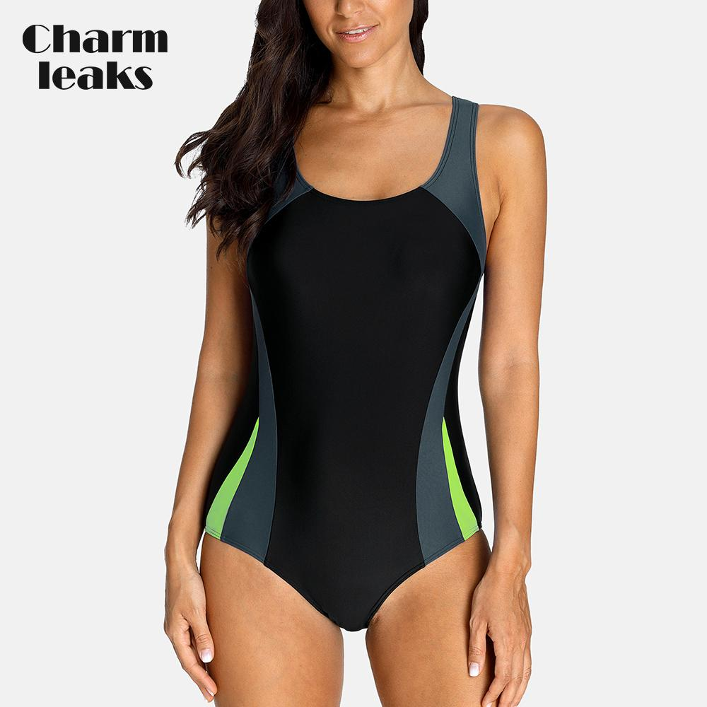Charmleaks one piece-Sports Sports Swimwear Swimsuit Patchwork Beachwear Maiô Acolchoado Bikini Monikini Y19072701