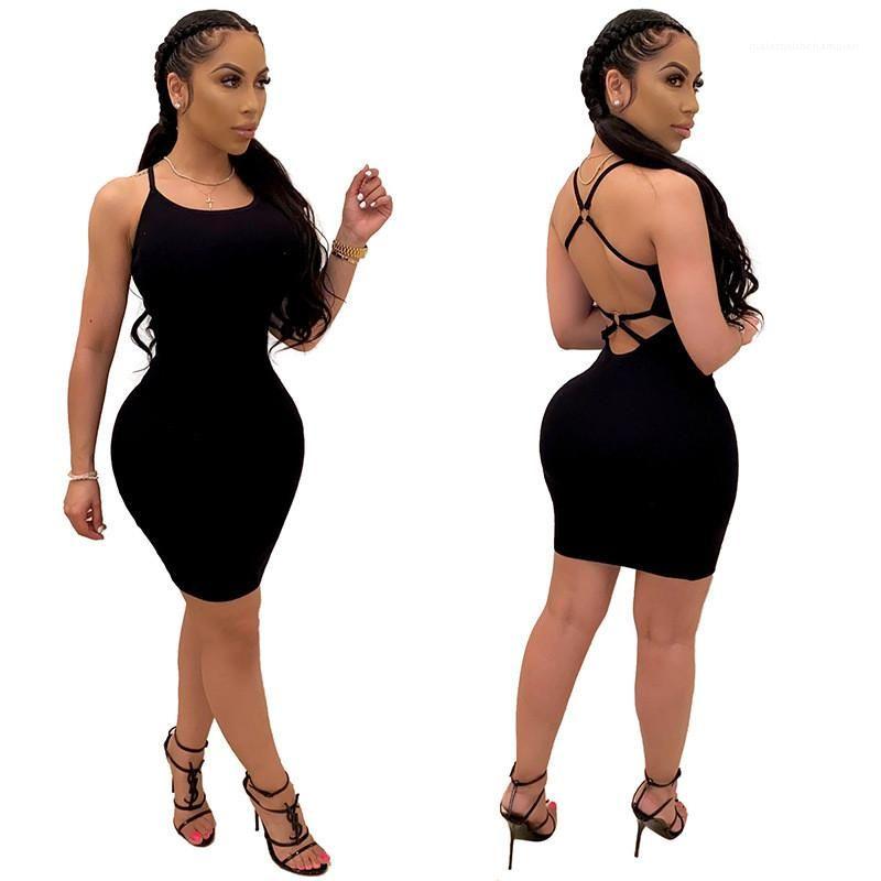 Mode arrière cris-croisé mini robe femmes vêtements femmes femmes robes de maillonnement sexy u cou