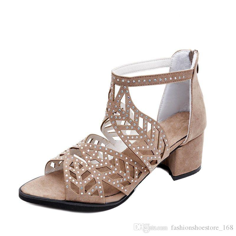 Ladies Gladiator Sandals Women Block Heel Shoes Woman Brand Luxury Open Toe Pumps Sexy Hollow Out Zip Sandale Mariage Shoes with Crystals