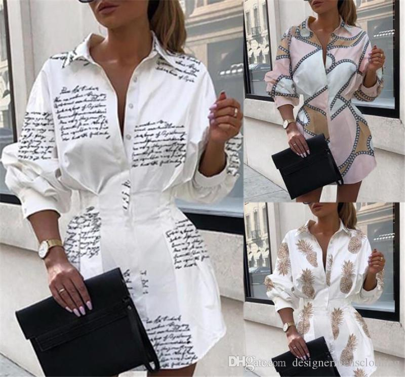 Cadena Mujeres camiseta de manga larga vestidos flojos de la solapa del cuello de las mujeres atractivas de los vestidos de diseño casual ropa femenina