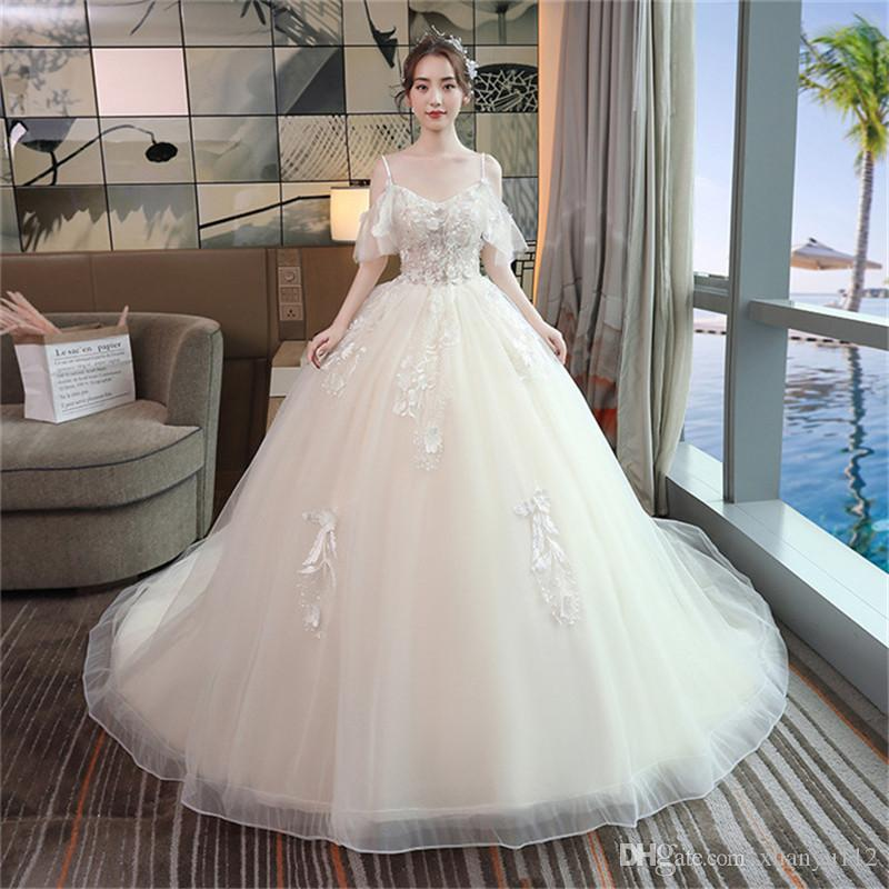 Mingli Tengda Sexy Off the Shoulder Spaghetti Wedding Dresses 2018 Short Sleeve Simple Backless Appliques Lace Ball Gown Wedding Dress