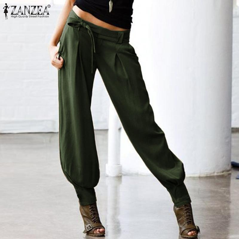 ZANZEA femmes taille basse sexy Pantalons Avslappnad Retour taille élastique Femme Pantalons Cargo poches Belted Harem Streetwear