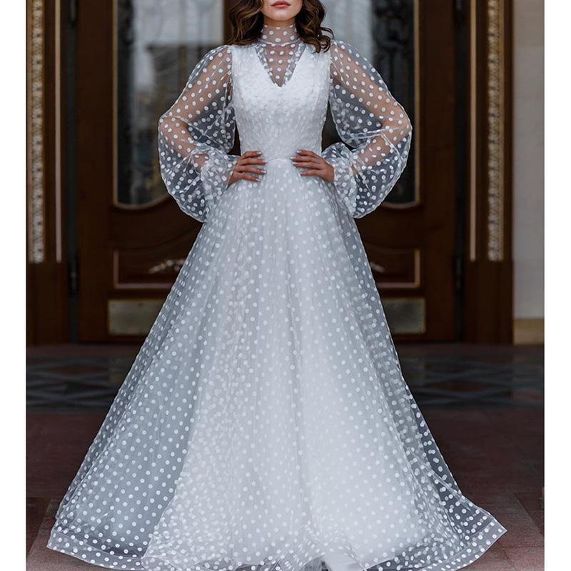 Ordifree 2020 Summer Women Long Tulle Dress Long Sleeve See Through White Polka Dot Maxi Party Dress