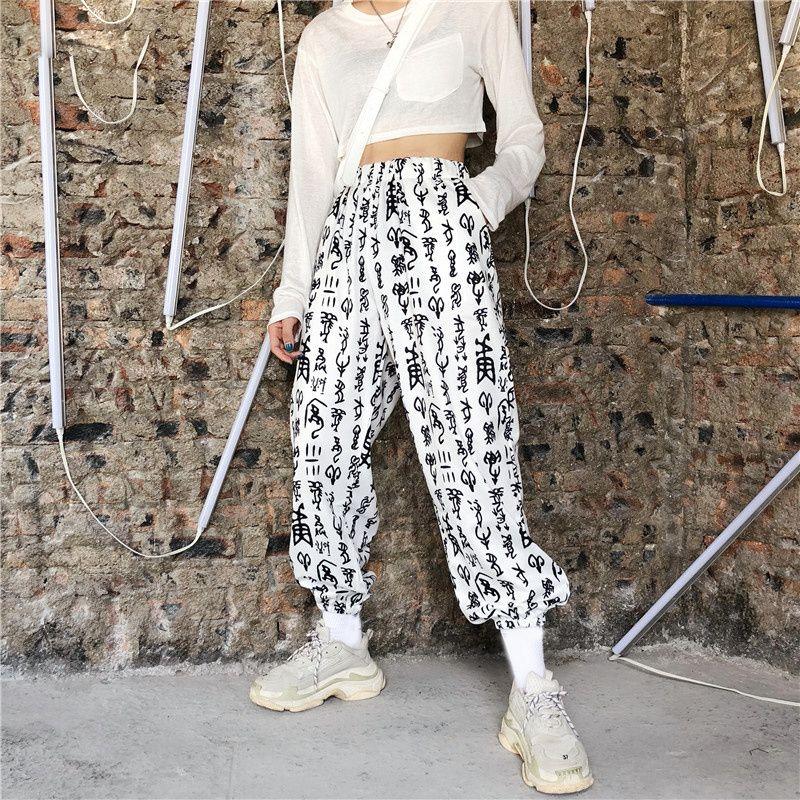 Coreano Punk gótico Carta Graffiti cintura alta Hiphop Harem solto Jogger Streetwear carga Pant Mulheres Homem Summer Fashion Vintage