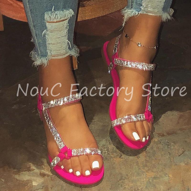 NouC pré-vente INS 2020 Sandales femmes cristal de diamant d'été Chaussures Casual Magenta Plage Chaussures Outdoor 35-43 INSTOCK T200615