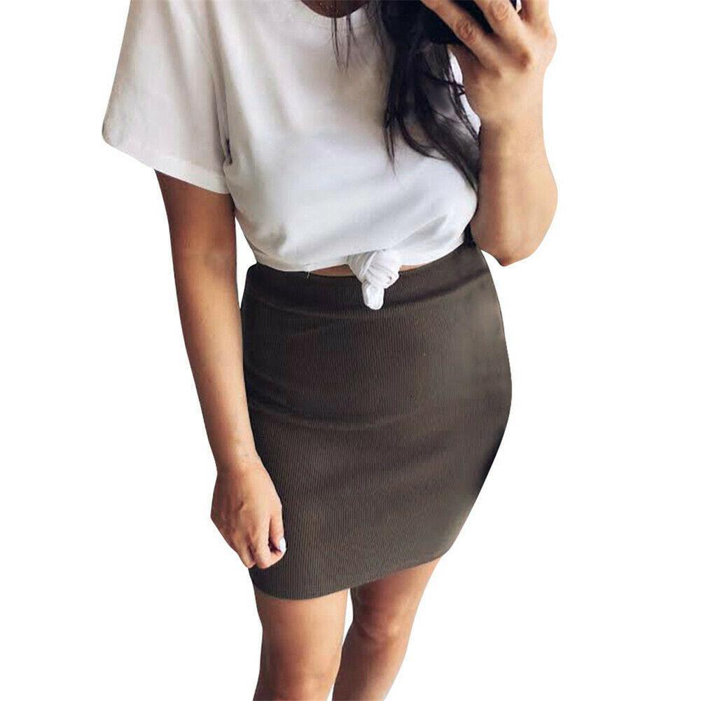 Saia de malha de cintura alta 2019 início do outono das mulheres lápis saia de escritório estiramento de algodão na altura do joelho plus size s-xl