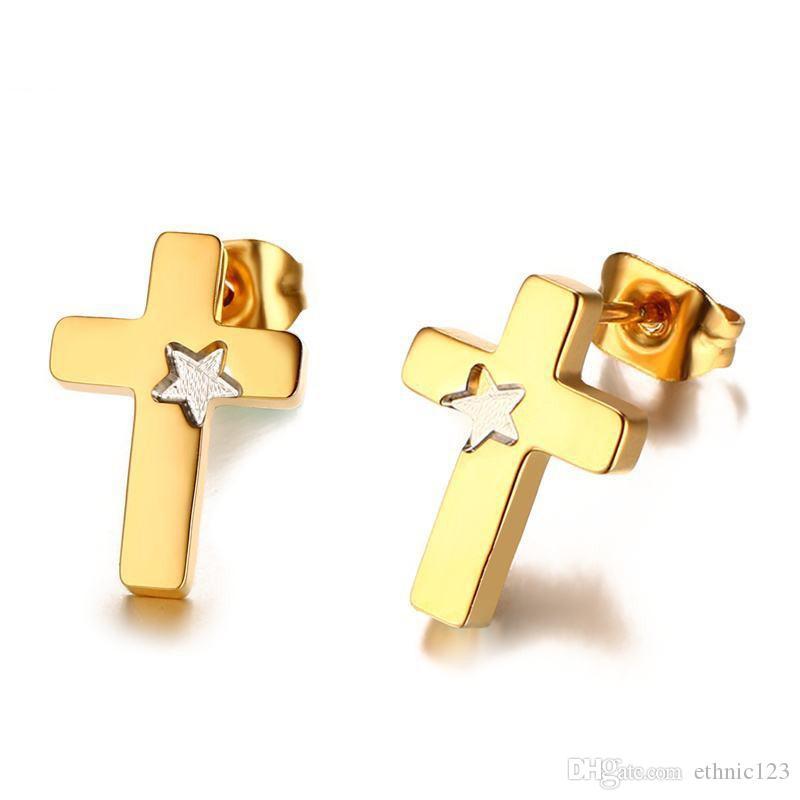 Cor da moda de ouro simples lady's cross star brincos de aço inoxidável brinco jóias presente para as mulheres senhora j180