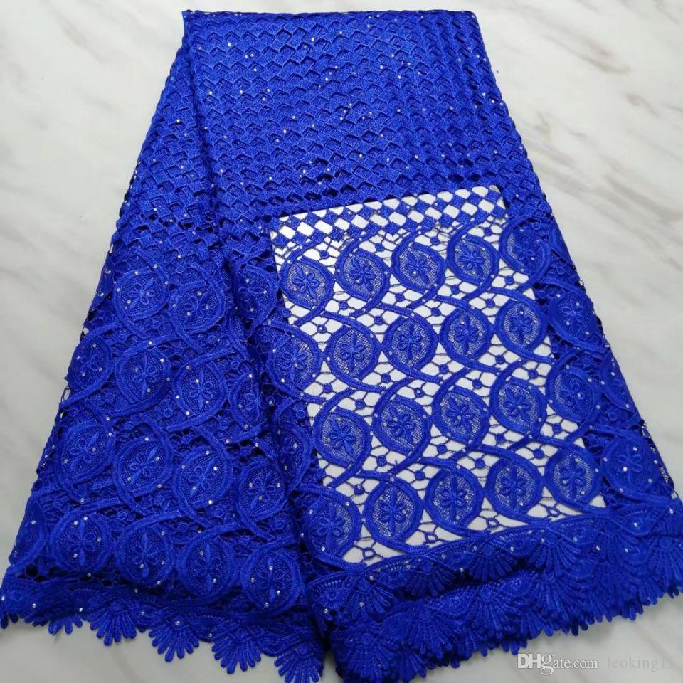 5 Yards / pc Harika kraliyet mavi çiçek afrika gipür dantel nakış fransız suda çözünür dantel kumaş elbise BW65-1 için
