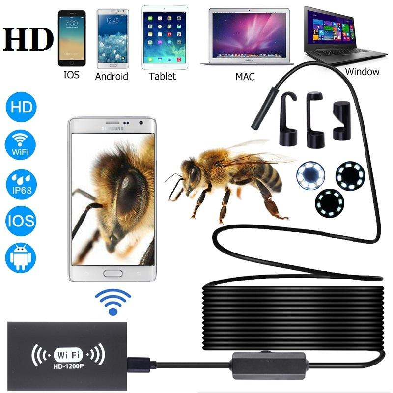 Wifi Endoscope HD 1200P Camera 8mm 8LEDS USB IP68 Waterproof Borescope Semi Rigid Tube Wireless Video Inspection camera for Android/iOS/Win