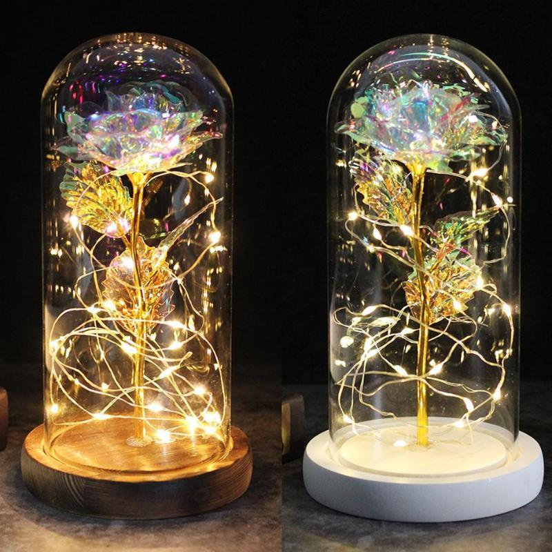 Beautiful Eternal Rose Eternelle LED Light Rose In Glass Dome For Mother's Birthday Valentines Day Gift