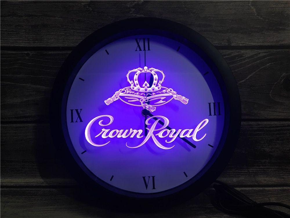 0E104 التاج الملكي دربي ويسكي APP RGB LED النيون ساعة الحائط ضوء علامات