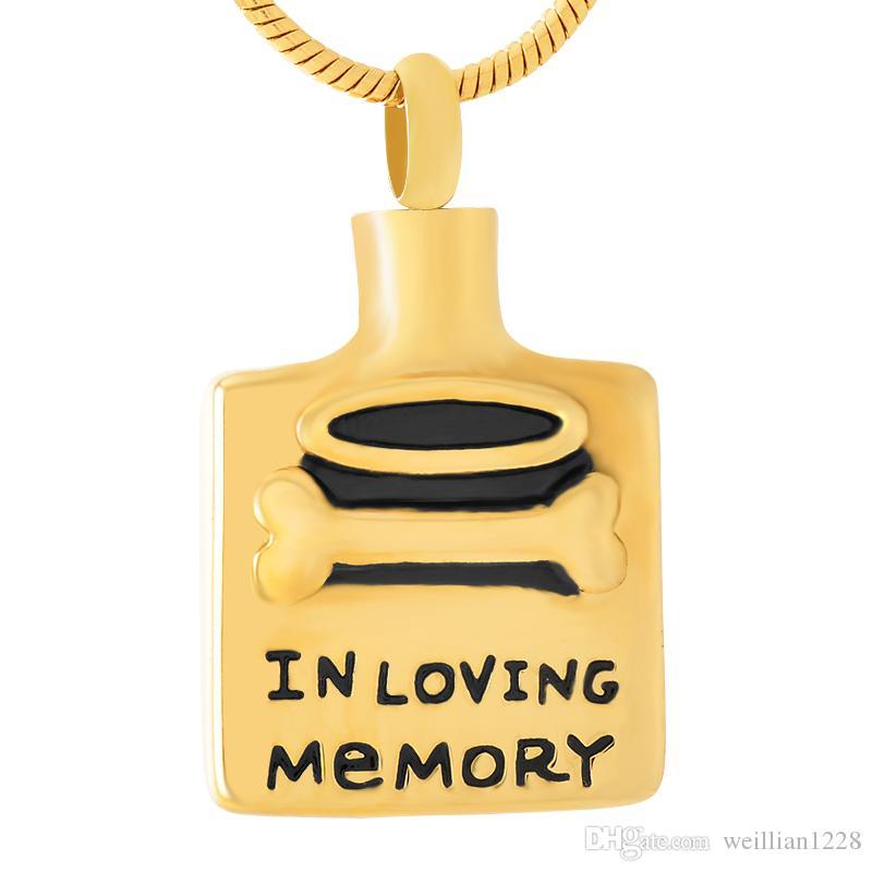 nouvelle Z354 or et noir Dog Memorial os carré en acier inoxydable Urne collier pour animaux Crémation Cendres Bijoux - Gravure