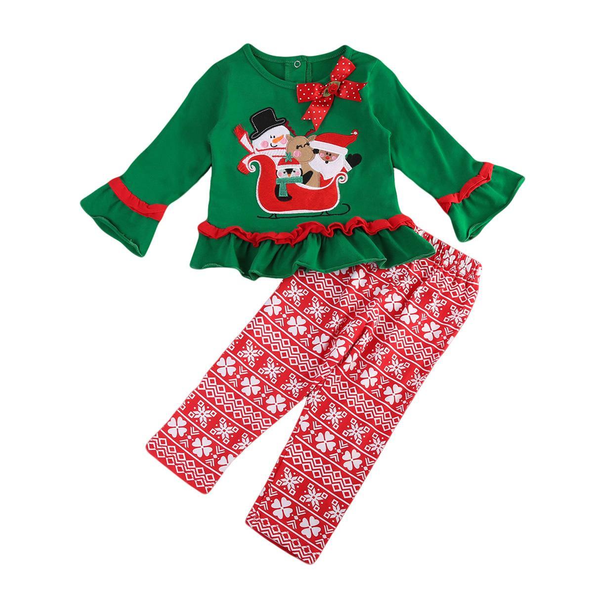 طفل طفل طفل بنات ملابس سانتا كلوز طويل مضيئة كم تي شيرت أحمر الأزهار طماق سروال مجموعة الزي الملابس للفتيات طفل