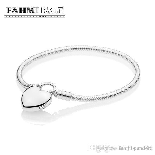 YHAMNI 100% Argent 925 Charme Nouveau 2019 Saint Valentin 597806 MOMENTS Bracelet lisse avec amour Padlock cadeau