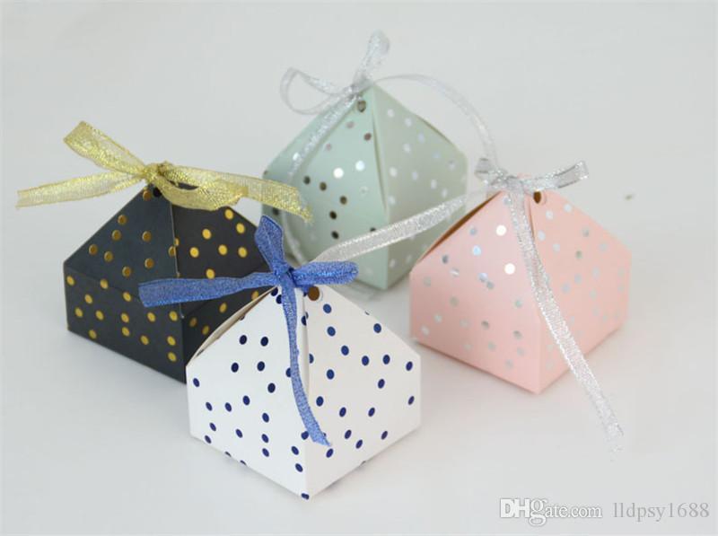 100 Adet Yaratıcı Polka Dots Piramit Stil Düğün Şeker Kutuları Parti Hediye Kutusu Şekeri Bomboniera Çikolata Kutusu Dönüş Hediye