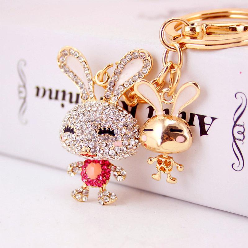 dessin animé diamant créatif mignon chaîne clé de voiture de lapin accessoires sac porte-clés pendentif en métal de femmes