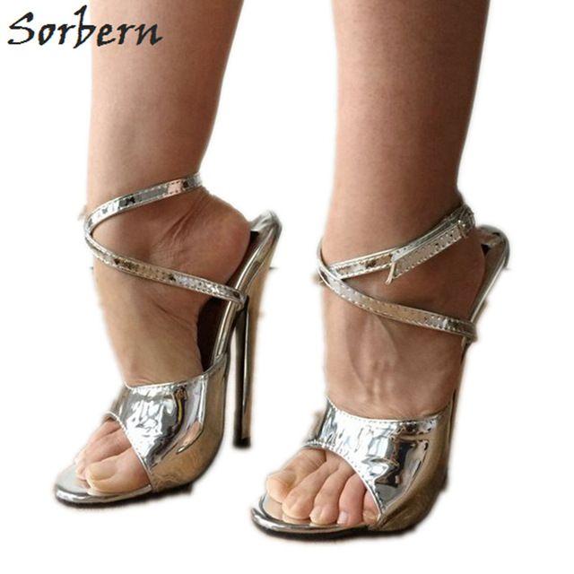 Sorbern Metallic Silver Damen Sandale High Heels 18 Cm Stilettos Knöchelriemen Heels Sexy Fetisch Schuhe Sommer Stil Slingback Sandale