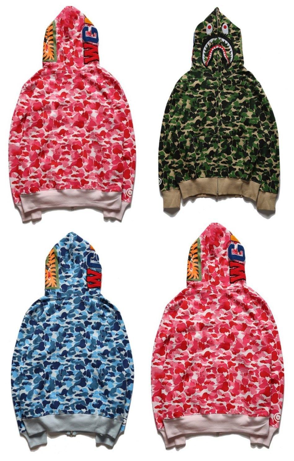 hoodies des hommes de mode de broderie Adolescent Bleu Rose Bathing MA1 Vol Male Tide Shark Hoodie Couples pour hommes camouflage vestes à capuchon
