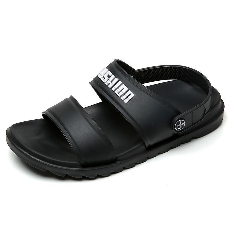 Nuevo estilo del verano del dedo del pie de tapizado de cuero sandalias de los hombres de Ocultar sustancia suela blanda antideslizante Hombres zapatillas de doble propósito sandalias L07