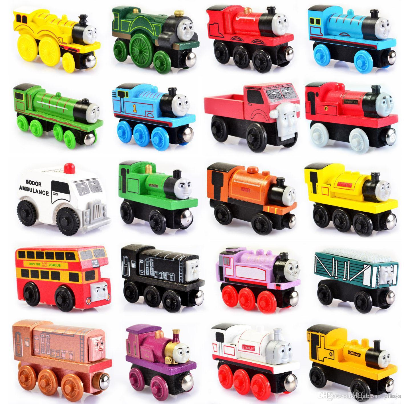 Wooden Small Trains magnetic Cartoon Toy 48 Styles opp bag Trains Friends Trains&Car Toys Bus Best Christmas Thomas Diecast Model Kids Toys