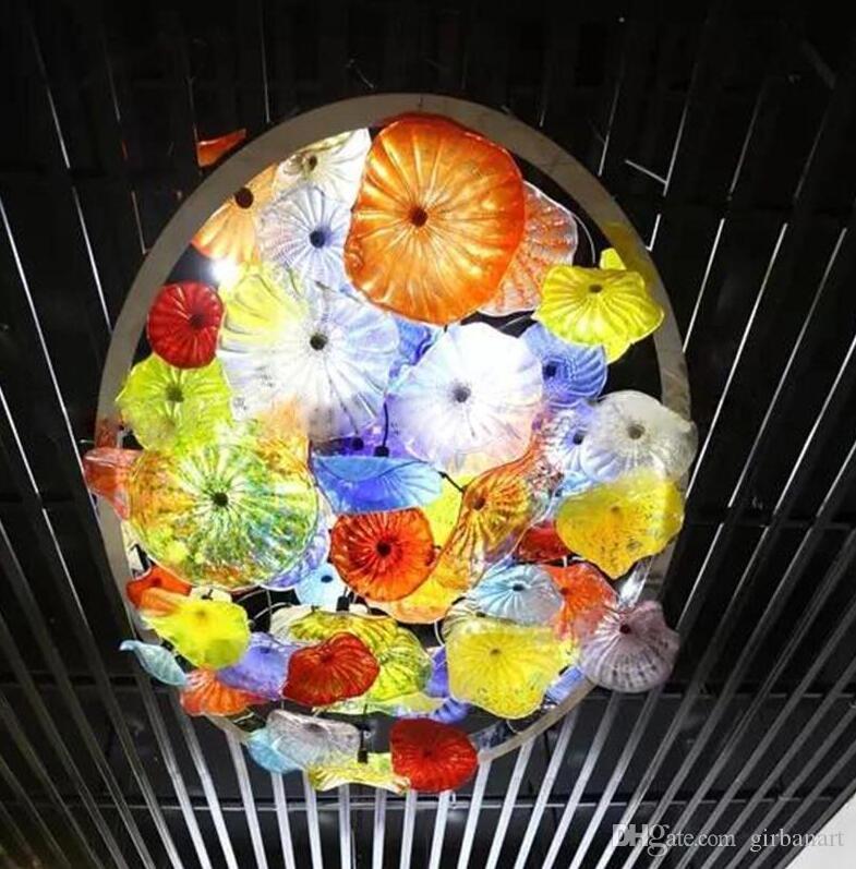 الرائعة السقف الزجاجي الإيطالية الإضاءة اليدوية في مهب وحات فن الزجاج الملون ضوء الظل زجاج مورانو زهرة الثريا للديكور المنزل