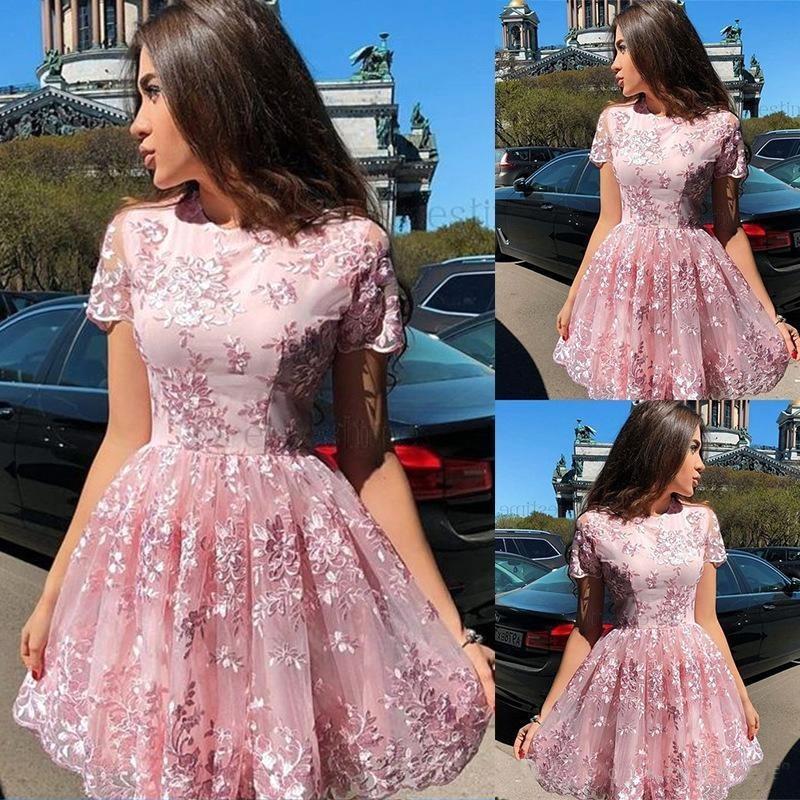 Rosa vestidos de regreso a casa con las mangas cortas una línea corta del partido vestido de fiesta Vestidos Vestidos Yong niñas