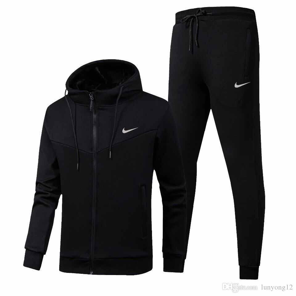 2019 Sonbahar Erkek Eşofman Kış Ceket + Pantolon Tişörtü 2 Adet Set Kapüşonlular Spor Suit Kat Spor Giyimi ooded ayarlar