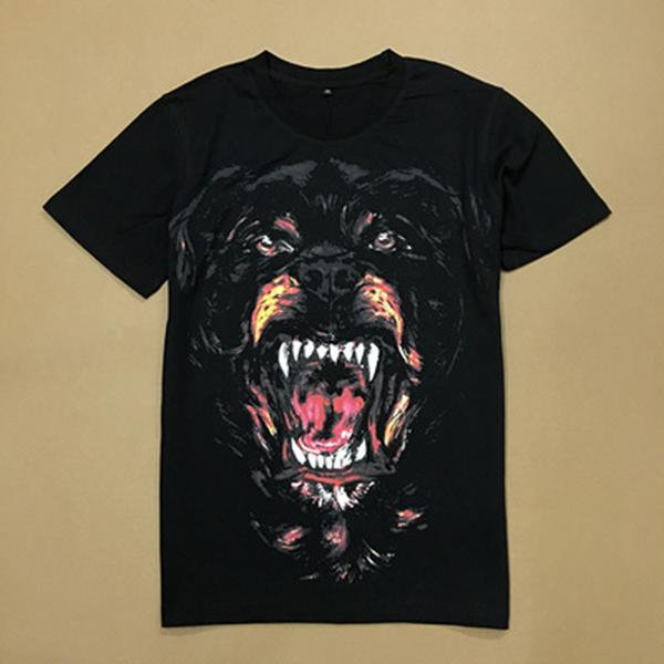 Vendita calda stampato Rottweiler Dog capo jersey di cotone effetto vintage T-shirt per Uomo Fashion Design Via Uomo manica lunga WG-TX37001-37004