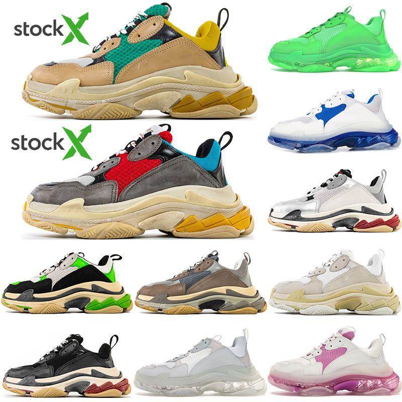 2020 Triple-ler Moda Paris 17FW Üçlü s Sneakers İçin Erkekler Kadınlar Siyah Kırmızı Beyaz Yeşil Casual Baba Ayakkabı Tenis Sneakers Artırma