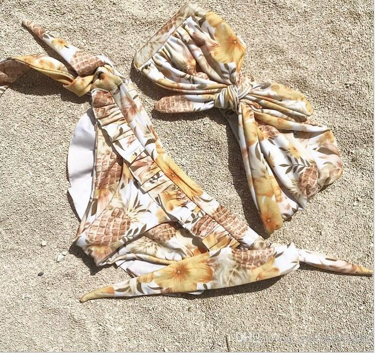 Nuovo seno annodato cinturino in costume da bagno bikini stampato della signora del costume di loto taglio
