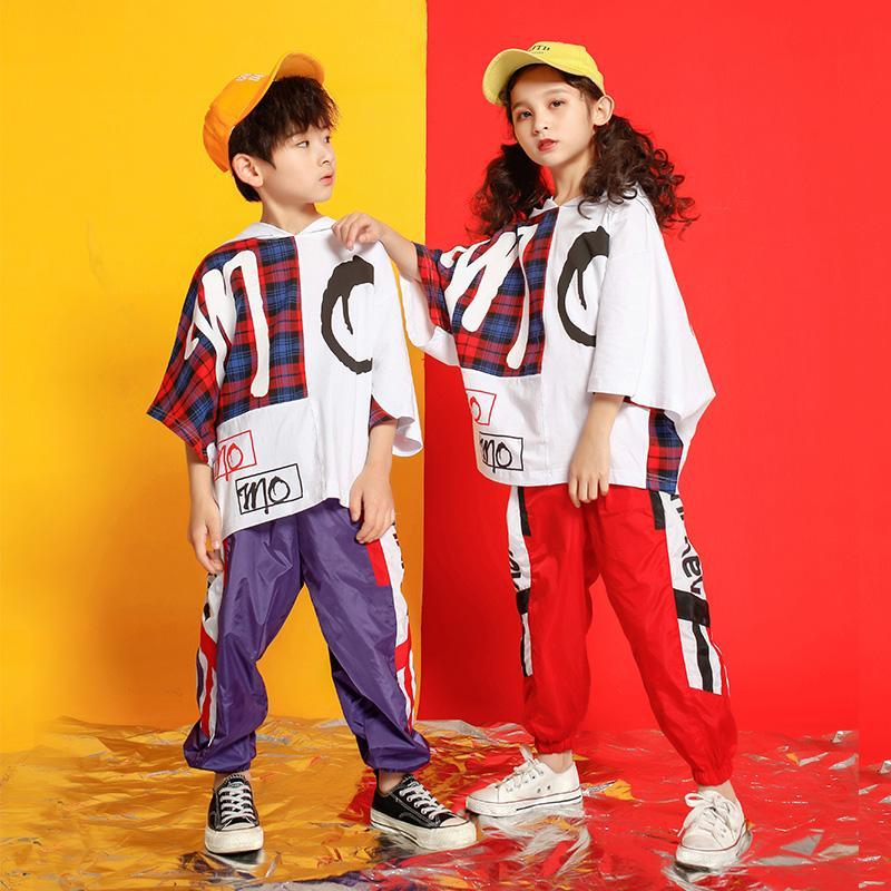 Kid Hip Hop Roupas Casuais Moletom Com Capuz Tops Dos Desenhos Animados Basculador Calças Meninas Jazz Boy Trajes de Dança de Salão desgaste do terno