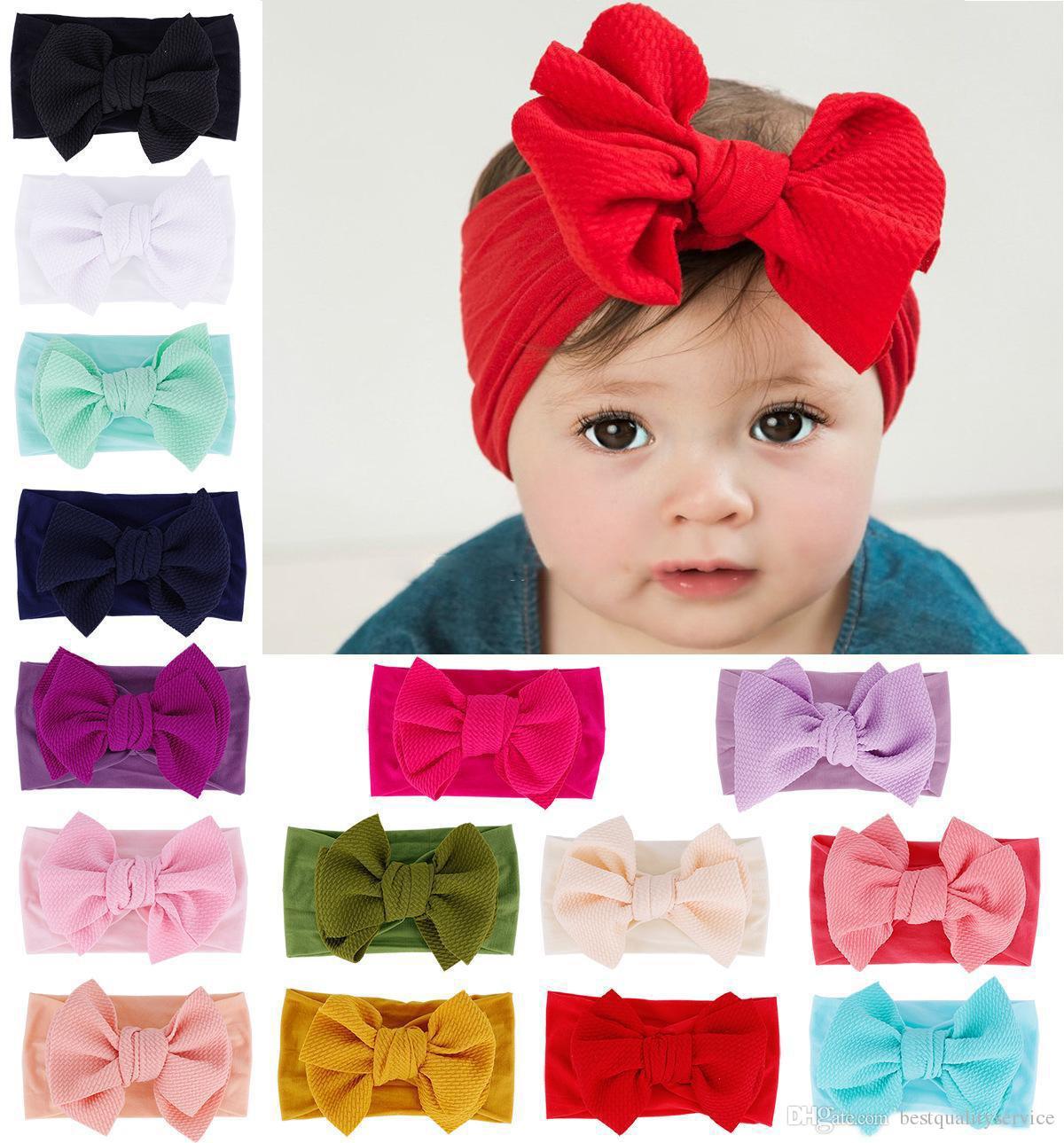Newborn Girls Kids Soft Floral Turban Head Wraps Knot Princess Big Bow Headbands