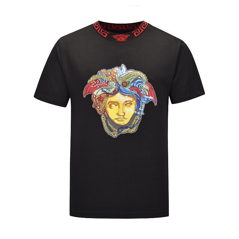 2020 lässiges T-Shirt der Männer Kleidungs-Sommer-Designer Shirt Schwarz Weiß Orange Größe M-XXL Baumwollmischung mit Rundhalsausschnitt Short Sleeve Cartoon-Druck