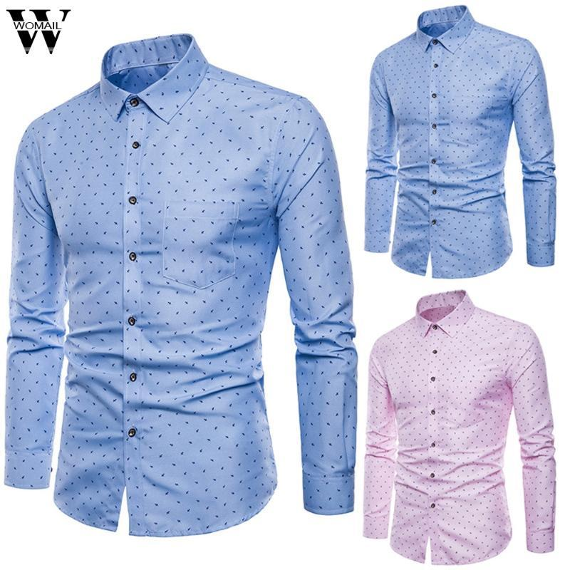 Womail Shirt Men's summer 2020 fashion Dress Shirt business Formal Long Sleeve Button Slim Fit Shirts high quality Casual M528