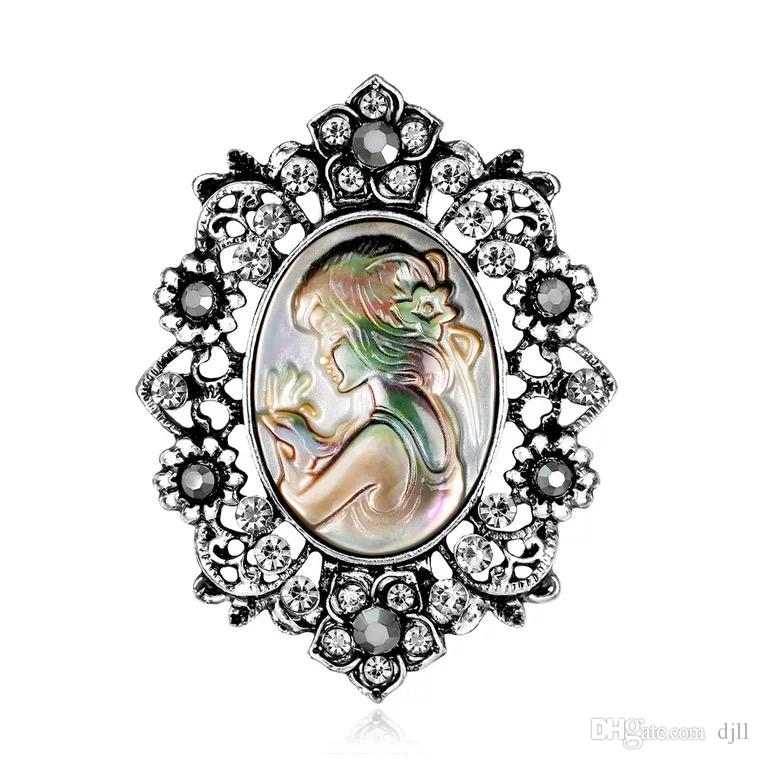 Women Brooches Crystal Abalone Pearl Shell Beauty Girl Head Engraved Rainstone Diamond Pins Brooch Dress Tie Suit Gold Sliver Flower Pin