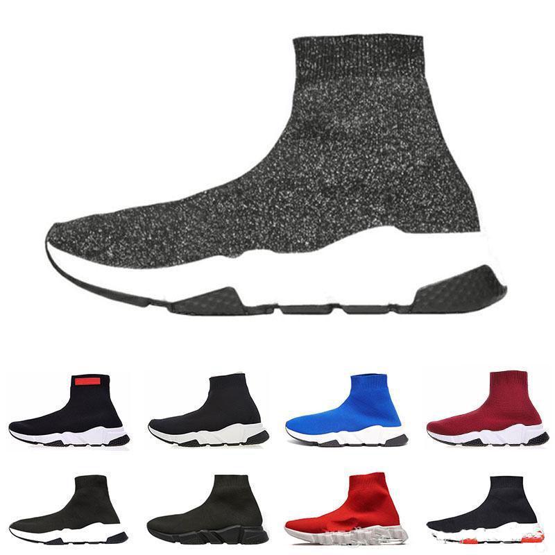 Новый роскошный дизайнер обуви скорость Носок кроссовки Stretch Mesh High Top Boots для женщин людей черный белый красный глиттер Runner Flat V1