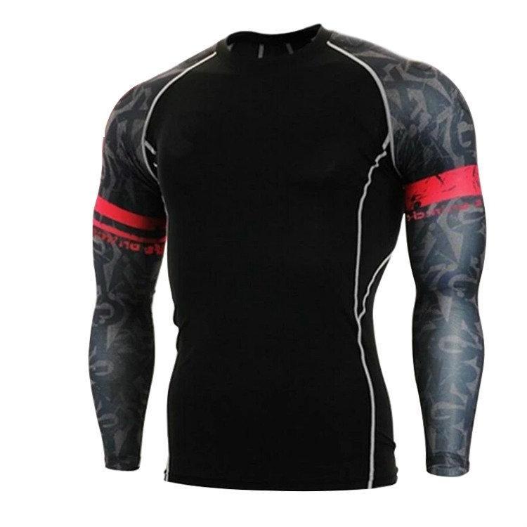 Manches longues imprimé Bodysuit Vêtements de course Vêtements de protection UV-hommes T-shirt à séchage rapide Gym Respirant
