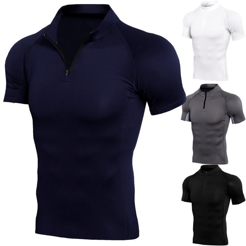 2020 Erkek Tasarımcı Standı Yaka Fermuar Spor Suit tişört Yaz Erkek Günlük Moda Kısa Sleeve Tees