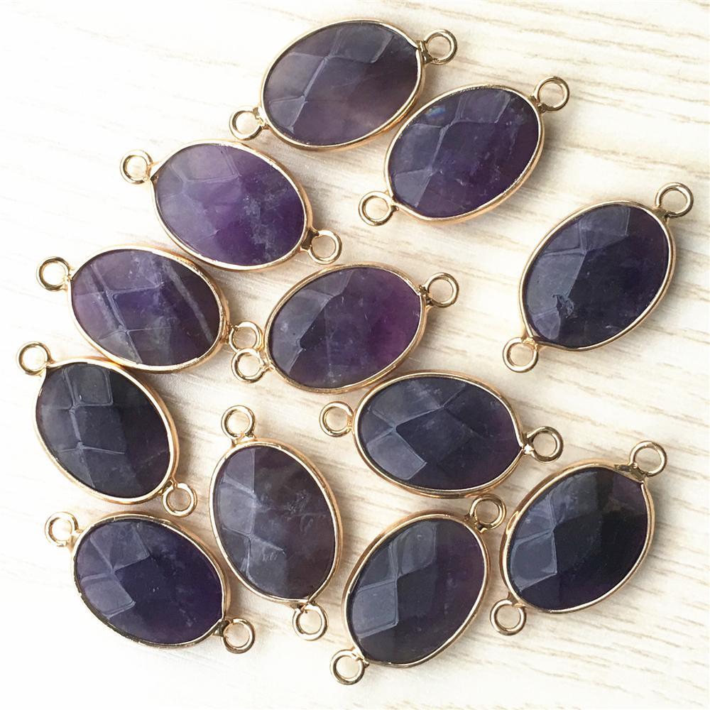 الذهب المعلقات الحجر الطبيعي سليكات الألمنيوم جمشت الخرزة السائبة سوار قلادة موصل diy الأزياء والمجوهرات جعل 12 قطع