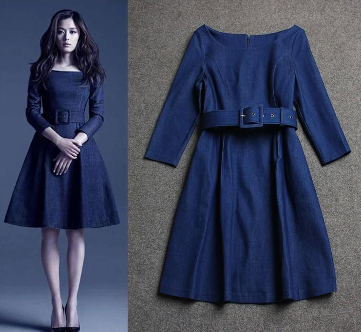 New Autumn Eighth sleeves Belt Slim Casual Denim Dress Women Wedding Dress fz2236