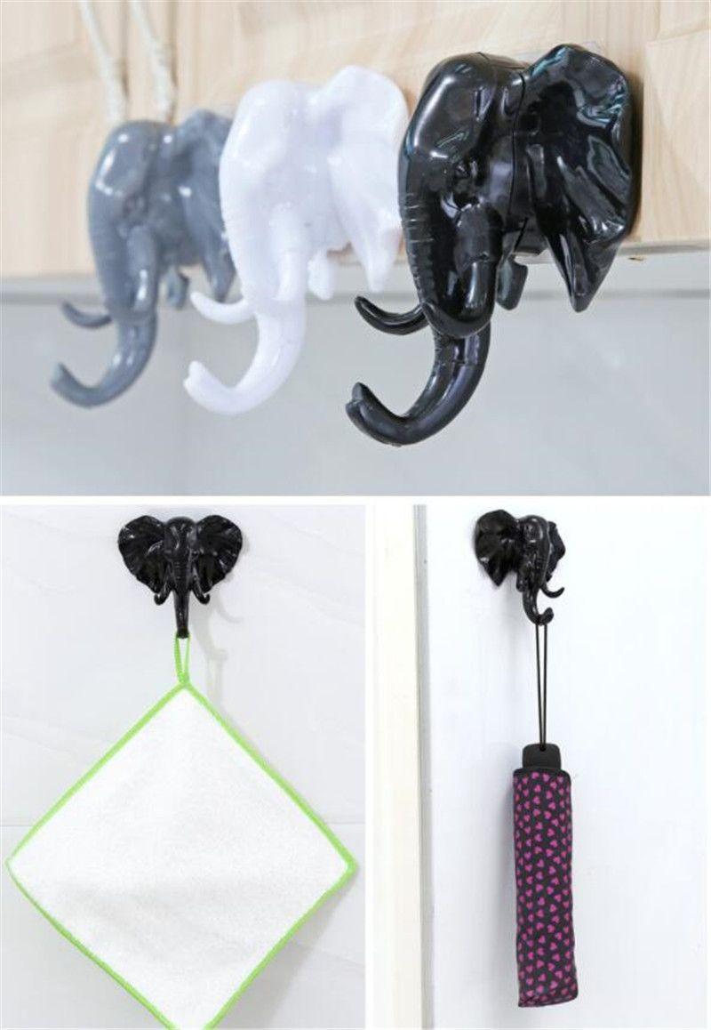 Elephant Head Tierwand Tür Kleidung Haken Anzeige Storage Racks Self Adhesive Aufhänger-Beutel-Schlüssel Sticky-Halter-kreativer Dekor